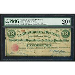 New York (USA), Cuba, Republica de Cuba (Junta Central Republicana de Cuba y Puerto Rico), 10 pesos,