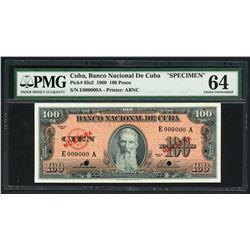 Havana, Cuba, Banco Nacional, 1960, 100 pesos specimen, series 1960, serial E000000A, PMG Choice UNC