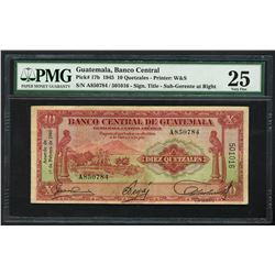 Guatemala, Banco Central, 10 quetzales, 19-2-1945, serial A850784 / 501016, SUB-GERENTE overprint, P