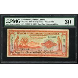 Guatemala, Banco Central, 2 quetzales, 4-2-1942, serial C489925 / 1141056, PMG VF 30.