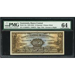Guatemala, Banco Central, 50 centavos de quetzal, 19-2-1941, serial A1588079 / 1588873, PMG Choice U