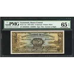 Guatemala, Banco Central, 50 centavos de quetzal, 21-10-1942, serial B0568626 / 2569886, PMG Gem UNC