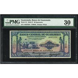 Guatemala, Banco de Guatemala overprint on Banco Central, 20 quetzales, 12-8-1946, serial 770648 / A