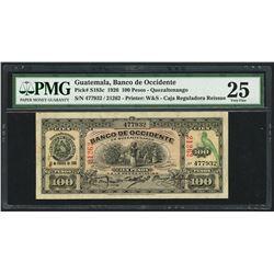 Quetzaltenango, Guatemala, Caja Reguladora red serial 21262 overprint on Banco de Occidente, 100 pes