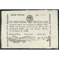 Mexico City, Mexico, Empire of Mexico, small-size 10 pesos, 1-1-1823, serial 2140, ex-Bevill.