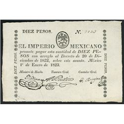 Mexico City, Mexico, Empire of Mexico, small-size 10 pesos, 1-1-1823, serial 2140, ex-Bevill.