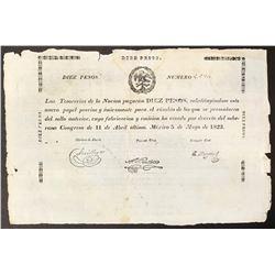 Mexico, Tesorerias de la Nacion, 10 pesos, 11-4-1823, serial 9,974, printed on papal bull, Bevill Pl