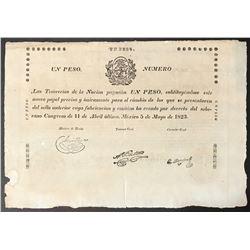 Mexico, Tesorerias de la Nacion, 1 peso, 11-4-1823, serial 116307, printed on papal bull, Bevill Pla