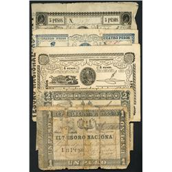 Lot of ten Paraguay, National Treasury, ND (1860-62) notes.