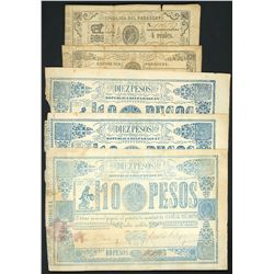 Lot of sixteen Paraguay, National Treasury, ND (1865-68) notes.