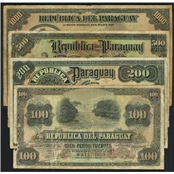 Lot of four Paraguay, Republica del Paraguay, ND (Law of 1920 & 1923) notes.