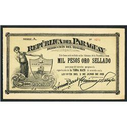 Paraguay, Direccion del Tesoro, 1,000 pesos oro sellado vale, 2-6-1925, series A, serial 1036.