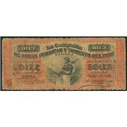 Lima, Peru, Compania de Obras Publicas y Fomento, 10 soles, 4-7-1876, series A, serial 118327.