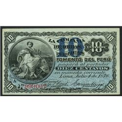 Lima, Peru, Compania de Obras Publicas, 10 centavos, 4-7-1876, series A, serial 999062.
