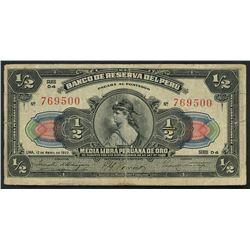 Lima, Peru, Banco Central, 5 soles, (1935) overprint on Banco de Reserva, 1/2 libra, 12-4-1922, seri