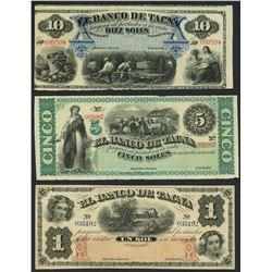 Lot of three Tacna, Peru, Banco de Tacna remainder notes, ca. 1872: 10, 5, and 1 soles.
