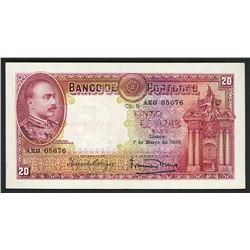 Lisboa, Portugal, Banco de Portugal, 20 escudos ouro, 7-3-1938, serial AKG 05676.