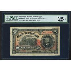 Lisboa, Portugal, Banco de Portugal, 10 escudos ouro, 13-1-1925, serial 1IP 17248, PMG VF 25 net / r