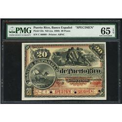 San Juan, Puerto Rico, Banco Espanol, 20 pesos specimen, ND (ca. 1889), series C, PMG Gem UNC 65 EPQ