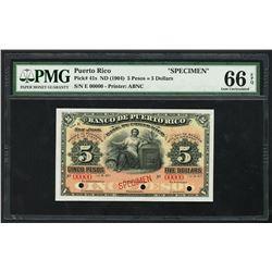 San Juan, Puerto Rico, Banco de Puerto Rico, 5 pesos / 5 dollars specimen, ND (ca. 1901-04), series