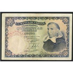 Madrid, Spain, Banco de Espana, 500 pesetas, 19-2-1946, serial 1592393.