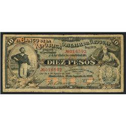 Montevideo, Uruguay, Banco de la Republica Oriental, 10 pesos, 24-8-1896, series BB, serial 016592.