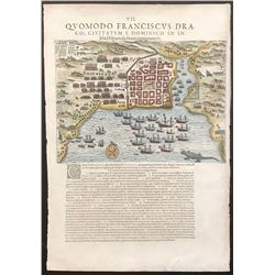 "German woodcut engraving entitled ""Quomodo Franciscus Draco, Civitatem S. Dominico in Insula Hispani"