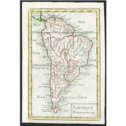 Small, early 18th-century French copperplate-engraved map of South America by Le Coq, engraved by P.