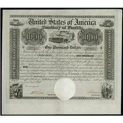 USA, Territory of Florida, $1,000 six-percent bond, 1-1-1838.
