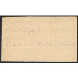 "Promissory note ""IOU"" for $50.00 dated Dec. 6th, 1890, signed by Robert Louis Stevenson."