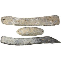 Lot of three lead sounding weights from the Tilbury (1757).