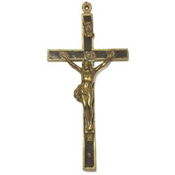 Spanish brass crucifix, 1800s.