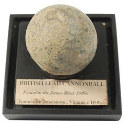 Rare early English lead cannonball, 1600s.