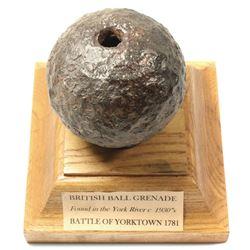 Revolutionary War British ball grenade, ca. 1781.