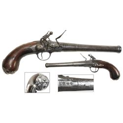 Flintlock pistol, English, ca. 1720 (Queen Anne period), with silver inlays and buttplate, marked an