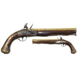 American Revolution-period flintlock officer's pistol, dated 1775.