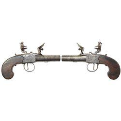 English flintlock boxlock screw-barrel pocket pistol, 1800-1820.