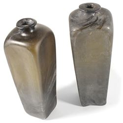 Lot of two black-glass case gin bottles, ca. 1750-90.