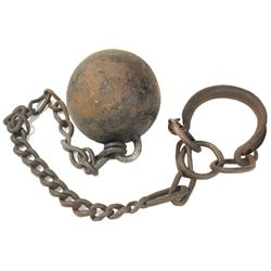 Early cast-iron ball-and-chain with shackle, 1800s.