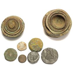 Collection of bronze weights, consisting of two nested-cup sets and six disks, Spanish colonial (160