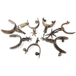 Lot of seven brass or bronze spurs, 1700s-1800s, mostly intact.