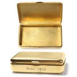 "Small, 18K gold pillbox, French, engraved ""Mai [May] 1913."""