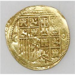 Burgos, Spain, cob 1 escudo, Charles-Joanna, crescent to left, circlet to right of shield, mintmark