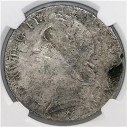 France (Bordeaux mint), ecu, Louis XV, 1748-K, large bust, NGC genuine / La Dramadaire [sic].