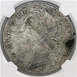 France (Bordeaux mint), ecu, Louis XV, 1748-K, large bust, NGC genuine / La Dramadaire [sic].