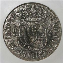 Mexico City, Mexico, pillar 2 reales, Ferdinand VI, 1747M, NGC genuine / El Cazador.