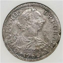 Mexico City, Mexico, bust 2 reales, Charles III, 1783FF, NGC genuine / El Cazador.