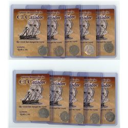 Lot of ten Spanish colonial bust 1R in promotional holders.