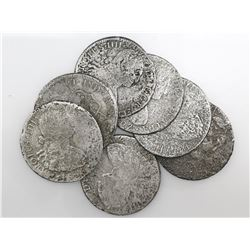 Lot of seven Spanish colonial bust 8 reales of Charles IV, various mints and dates (where visible).