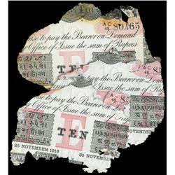 Lot of three Calcutta, British India, 10 rupees, 25-11-1916, series AC 48.
